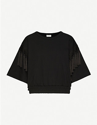 DRIES VAN NOTEN: Tassel-trimmed cotton-jersey T-shirt