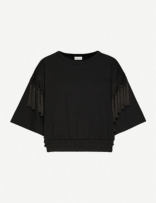 DRIES VAN NOTEN Tassel-trimmed cotton-jersey T-shirt