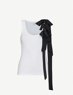 DRIES VAN NOTEN Bow-detail cotton-jersey top