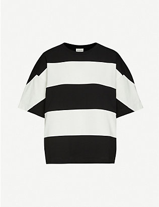 DRIES VAN NOTEN: Striped oversized cotton-jersey T-shirt