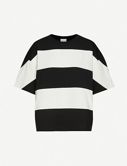 DRIES VAN NOTEN Striped oversized cotton-jersey T-shirt