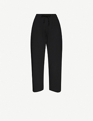 DRIES VAN NOTEN Wide-leg high-rise cotton-jersey jogging bottoms
