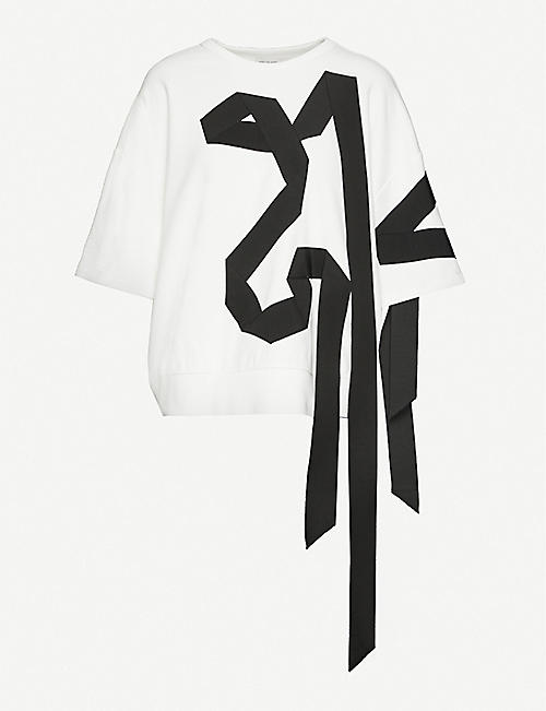 DRIES VAN NOTEN Ribbon-appliqué cotton-jersey sweatshirt