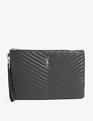 SAINT LAURENT: Monogram quilted leather document holder