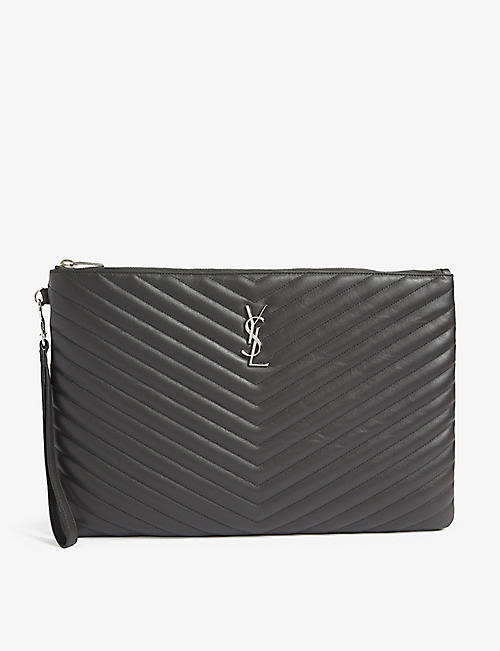 SAINT LAURENT Monogram quilted leather document holder