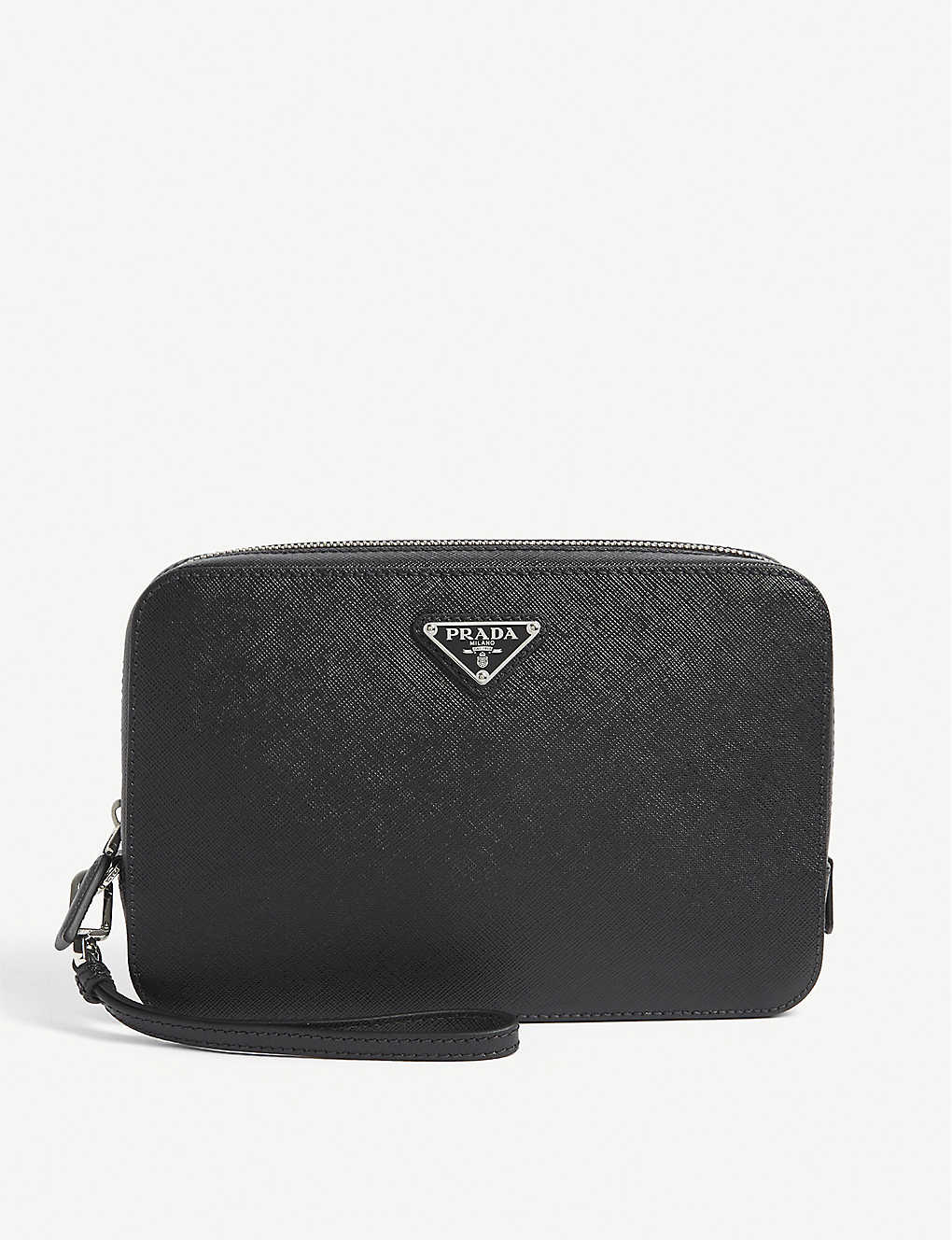 PRADA: Saffiano leather zip-around pouch