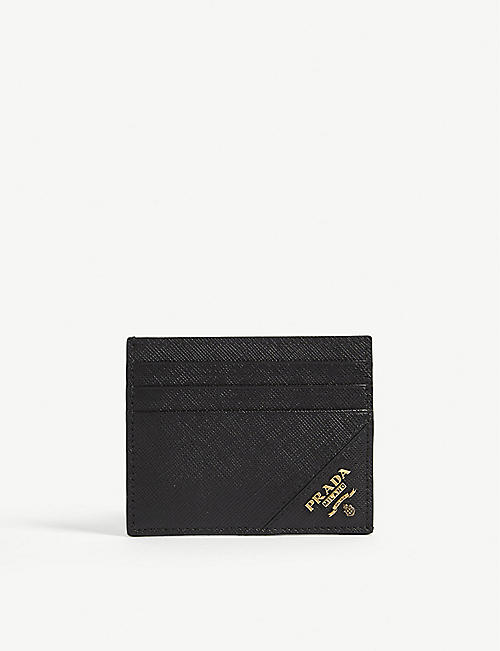 PRADA Corner logo leather card holder