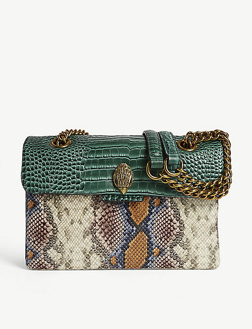 KURT GEIGER LONDON Kensington snake-embossed leather cross-body bag