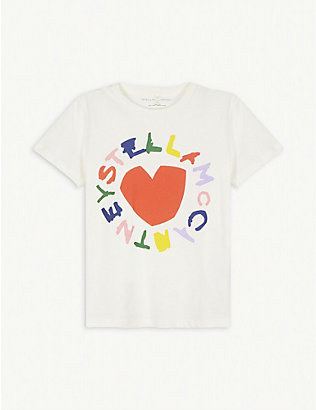 STELLA MCCARTNEY: Heart graphic cotton T-shirt 4-16 years