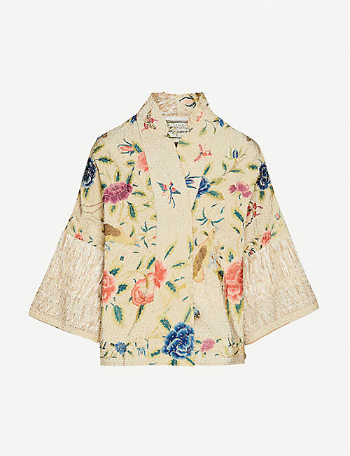 BY WALID Cassie floral-embroidered silk jacket