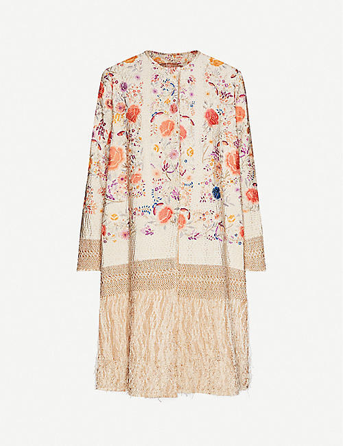 BY WALID Tanita floral-embroidered silk dupion coat