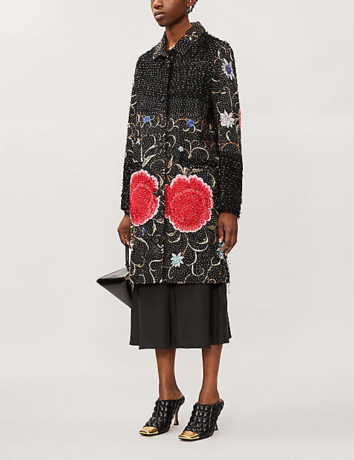 BY WALID Zosia floral-embroidered silk coat