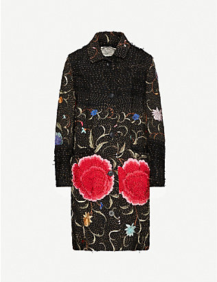 BY WALID: Zosia floral-embroidered silk coat