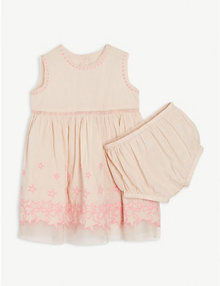 STELLA MCCARTNEY: Embroidered stars cotton dress set 6-36 months