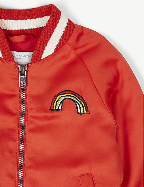 STELLA MCCARTNEY Rainbow motif cotton-blend bomber jacket 6-36 months
