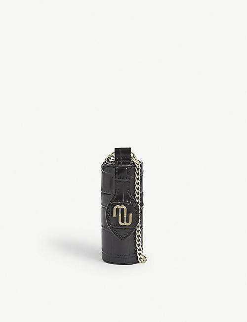 MAJE Leather croc-embossed cylindrical pouch