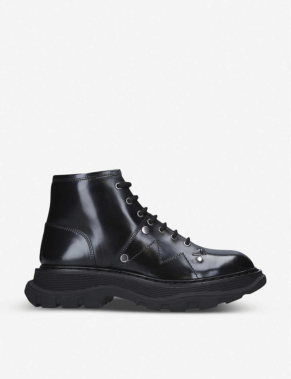 ALEXANDER MCQUEEN: Tread lace-up leather boots