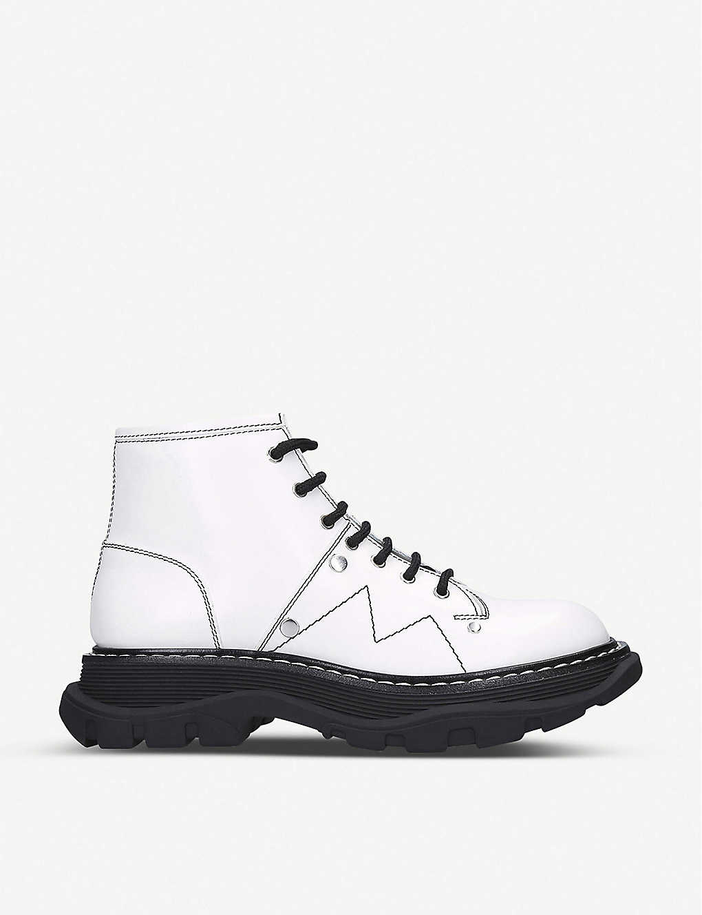 ALEXANDER MCQUEEN: Lace-up leather ankle boots