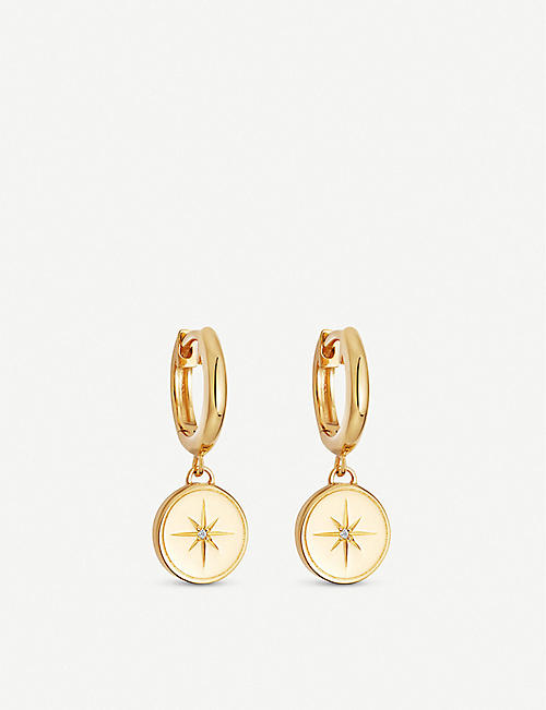 ASTLEY CLARKE: Celestial Compass 18ct gold-plated and sapphire earrings