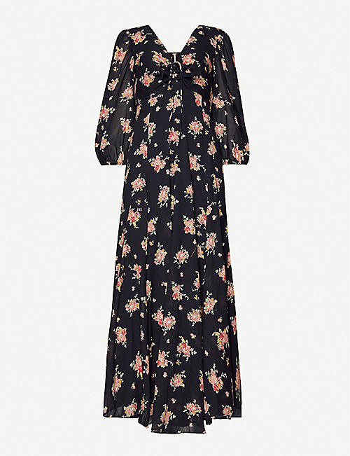 FREE PEOPLE Sea Glass floral-print cotton maxi dress