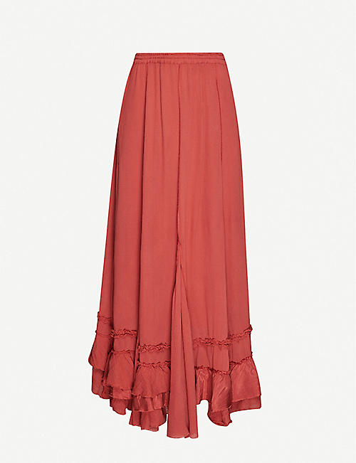 FREE PEOPLE: Cyprus ruffle maxi skirt