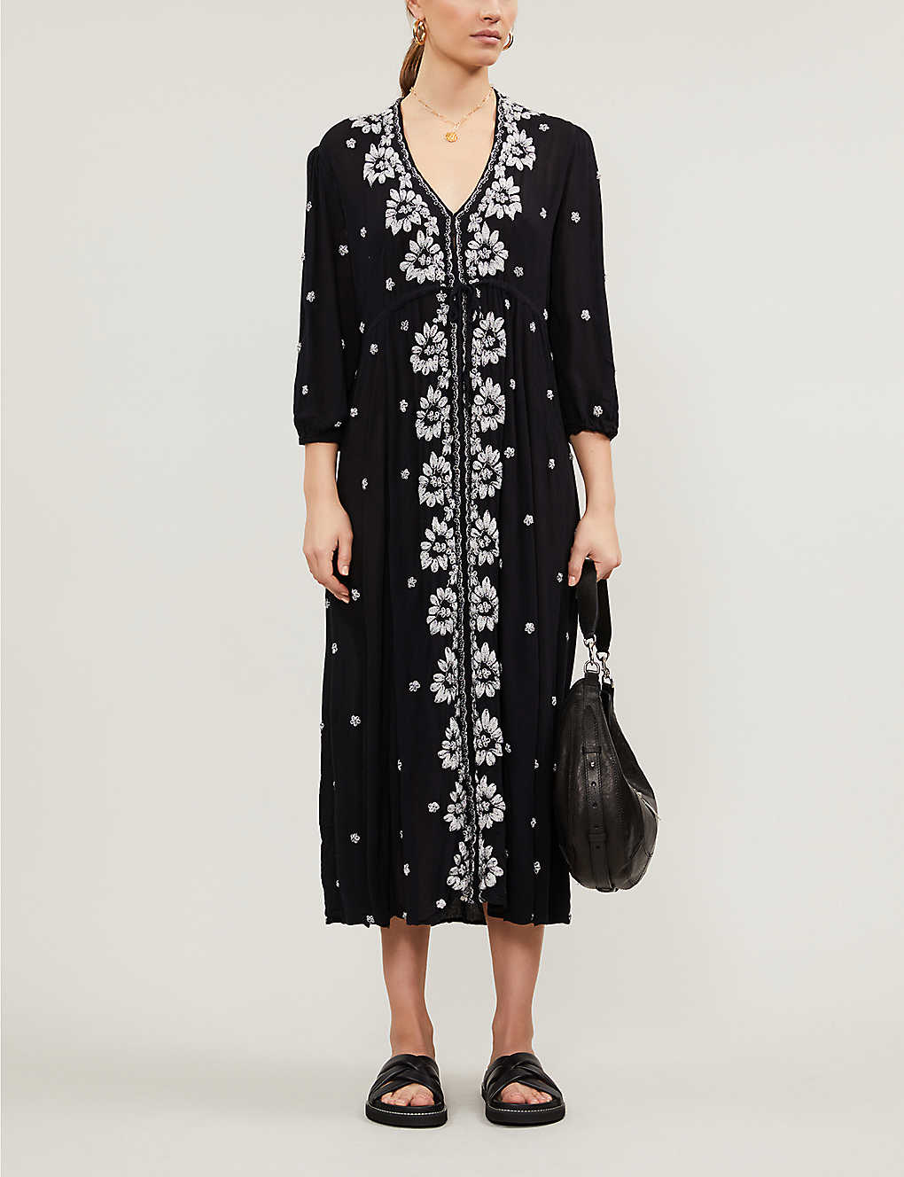 FREE PEOPLE: Embroidered midi wrap dress