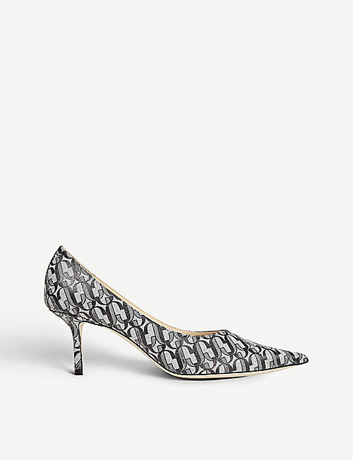 JIMMY CHOO: Love 65 glitter-leather courts