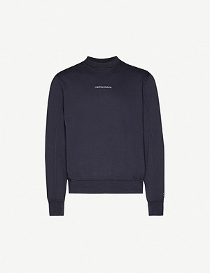 CK JEANS Logo-embroidered crewneck cotton-jersey sweatshirt