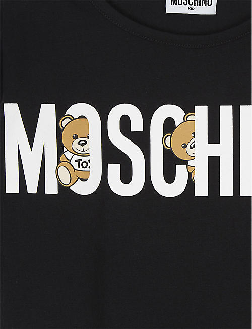 MOSCHINO Bear logo cropped cotton T-shirt 4-14 years
