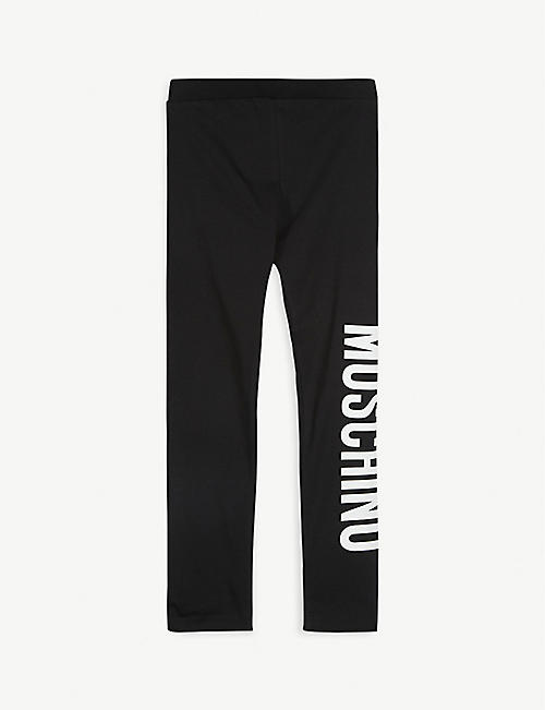 MOSCHINO Logo print cotton-blend leggings 4-14 years