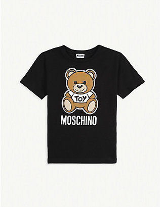 MOSCHINO: Logo print cotton T-shirt 4-14 years