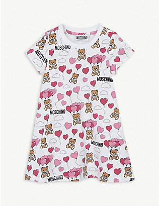 MOSCHINO: Balloon bear print cotton dress 3-36 months