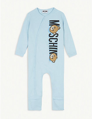 MOSCHINO: Bear logo cotton convertible all-in-one 1-18 months