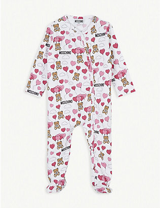 MOSCHINO: Balloon bear cotton all-in-one 1-18 months