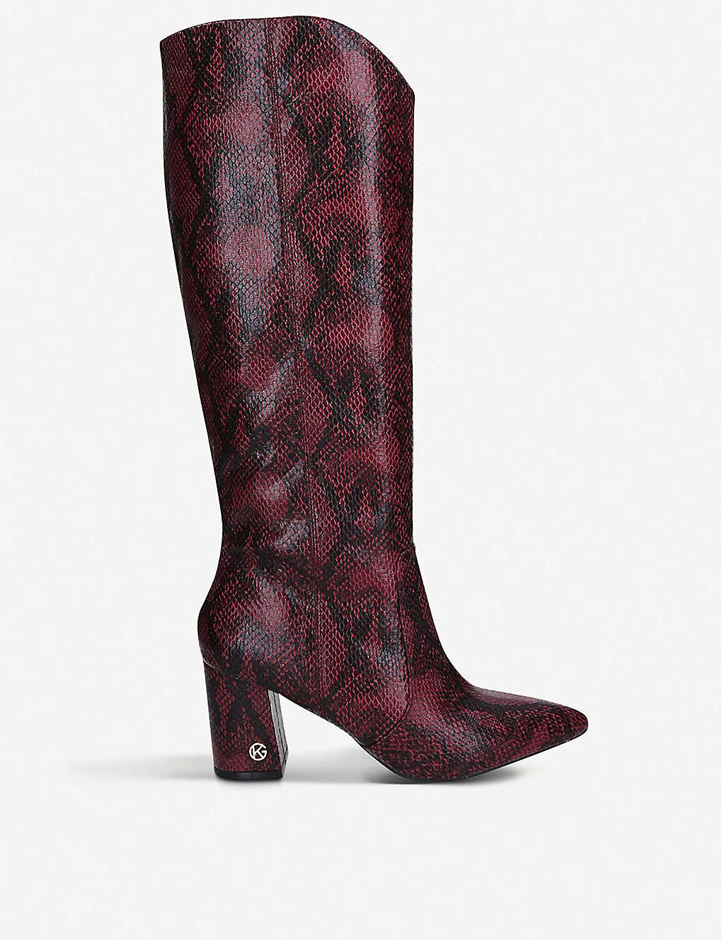 KG KURT GEIGER: Sunny snakeskin-print faux-leather knee-high boots