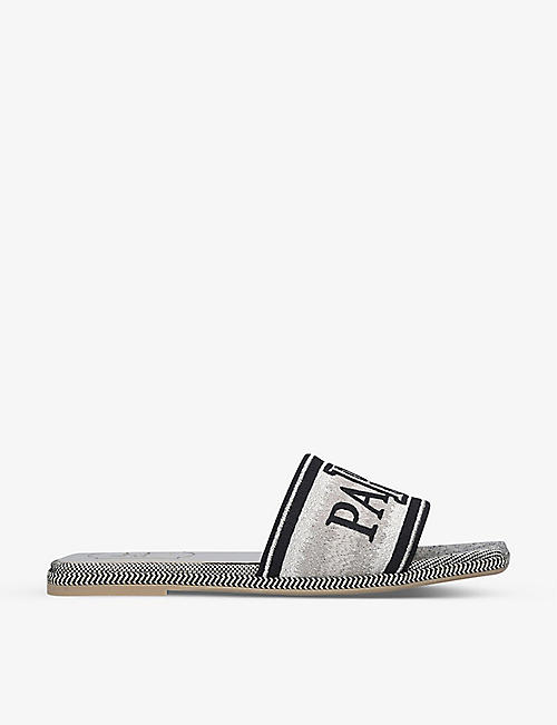 ROGER VIVIER: Love Paris embroidered canvas sliders