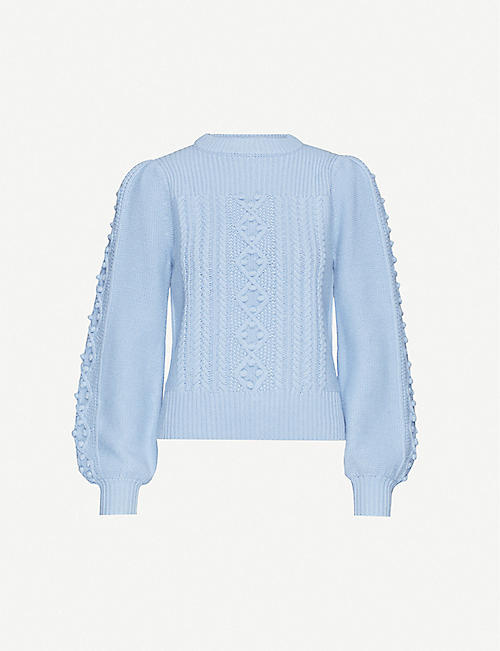 WHISTLES Puff-sleeve cable-knit knitted jumper