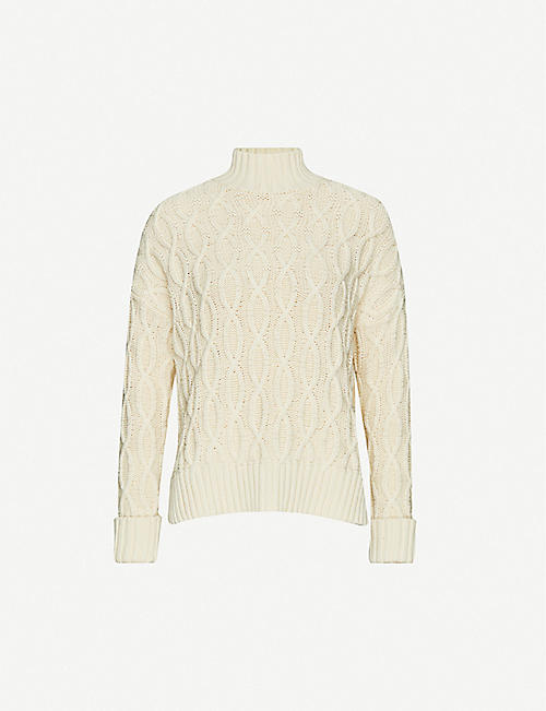 WHISTLES Cable-knit cotton and wool-blend jumper Sweater