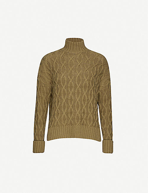 WHISTLES Cable-knit cotton and wool-blend jumper