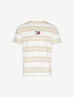 TOMMY JEANS Logo-embroidered striped cotton-jersey T-shirt