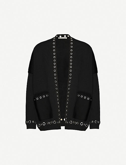 MAJE Metallica embellished stretch-jersey cardigan