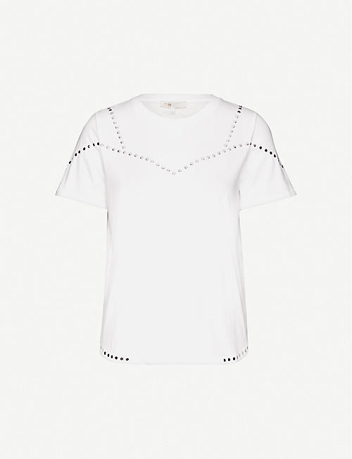 MAJE: Tabloid embellished cotton-jersey T-shirt