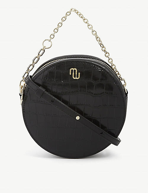 MAJE: Croc-embossed leather cross-body bag