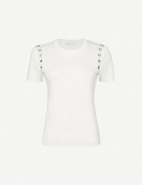 MAJE: Tillet rock-eyelets cotton-jersey T-shirt