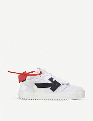 OFF-WHITE C/O VIRGIL ABLOH: Off Court arrow-patch suede and canvas low-top trainers