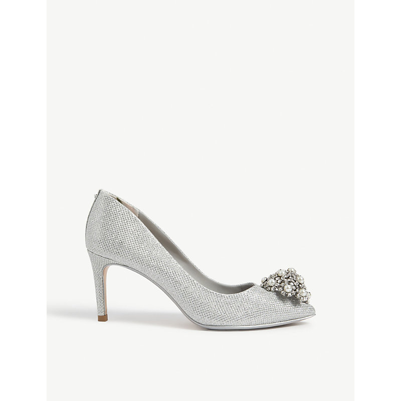 wholesale outlet good texture more photos Ted Baker Darlill Metallic Brooch Detail Courts In Silver | ModeSens
