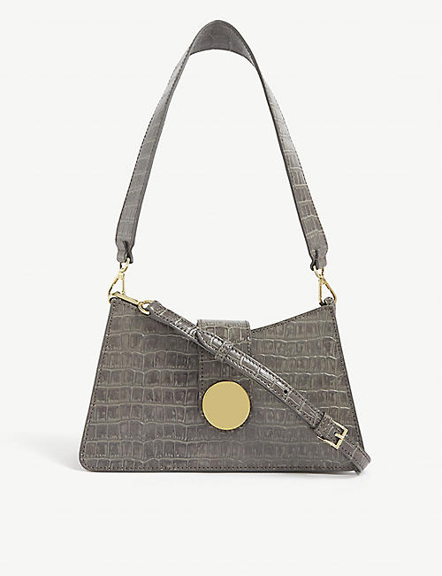 ELLEME Snakeskin-embossed leather baguette bag
