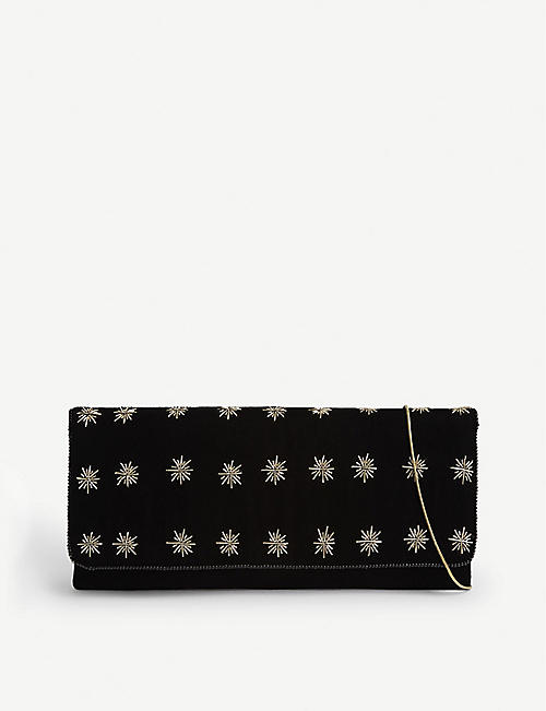 FROM ST XAVIER North Star embellished velvet clutch