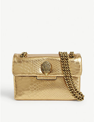 KURT GEIGER LONDON: Kensington mini snake-embossed leather cross-body bag