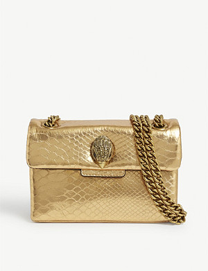 KURT GEIGER LONDON Kensington mini snake-embossed leather cross-body bag